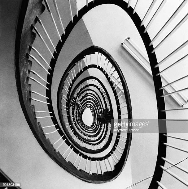 Optical Illusion With The Stairs Of This New 14 Storeyed Building In Piatra Neamtz Czech Republic on March 11 1963
