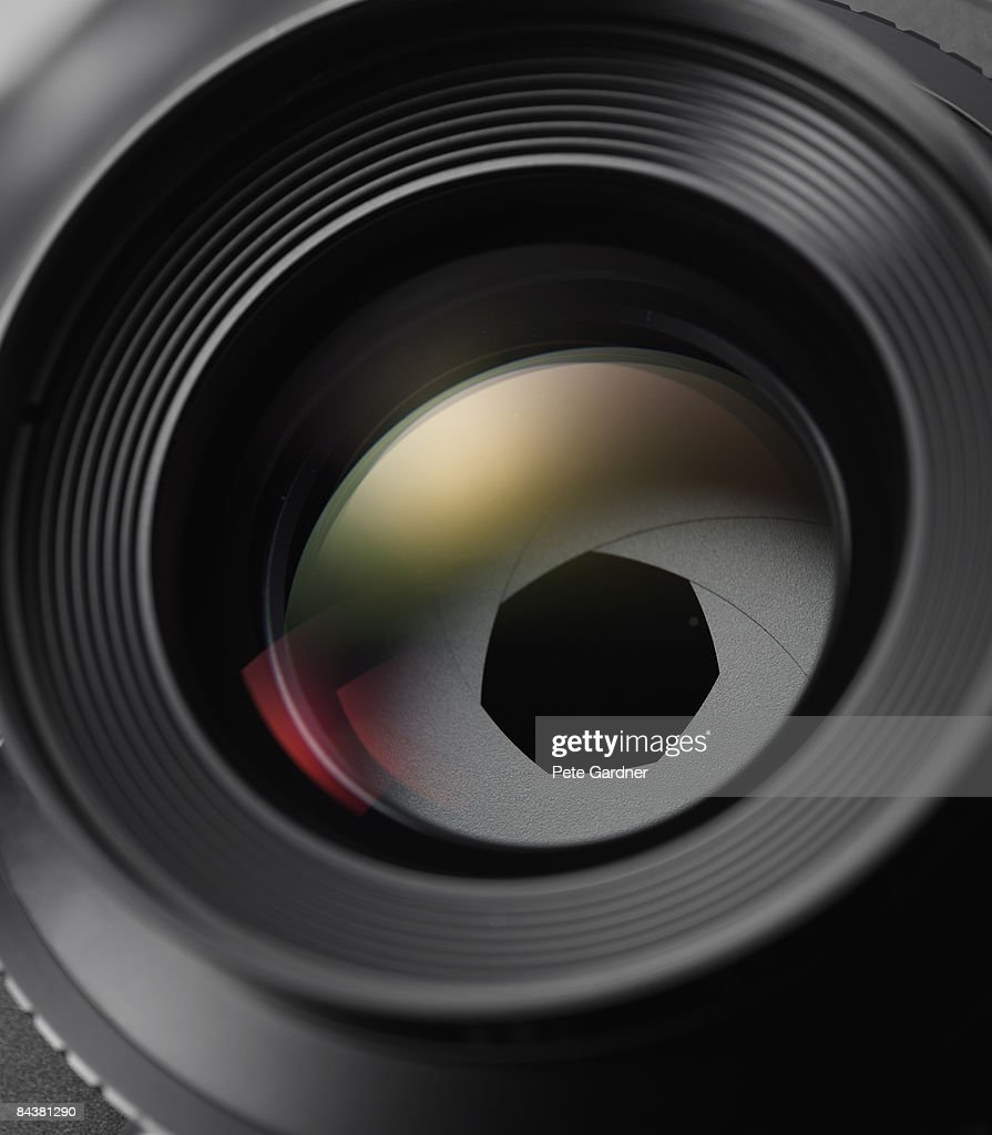 optical lens with iris : Foto de stock