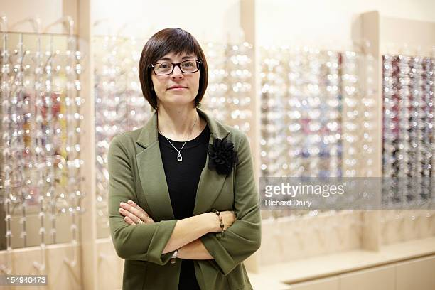Optician in her shop