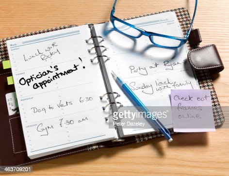 Optician's appointment diary