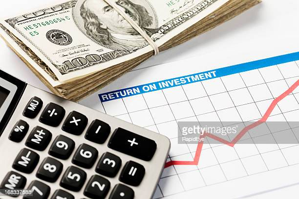 Optimistic investment graph, bundle of dollars and calculator