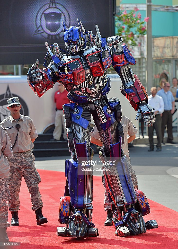 Optimus Prime attends Transformers The Ride - 3D Grand Opening Celebration at Universal Orlando on June 20, 2013 in Orlando, Florida.