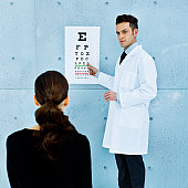 Optometrist, patient and eye chart