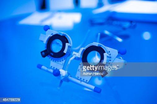 Optometrist's trial frame for eye testing : Stock Photo