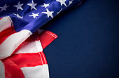 USA or america flag isolated on blue background with clipping path