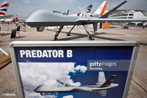 B or MQ9 Reaper unmanned air vehicle or drone manufactured by General Atomics Aeronautical Systems Inc sits on display outside the company's stand on...