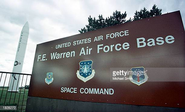 MX or 'Peacekeeper' missile sits at the entrance of Warren Air Force base July 11 2001 near Cheyenne WY Defense Secretary Donald Rumsfeld announced...