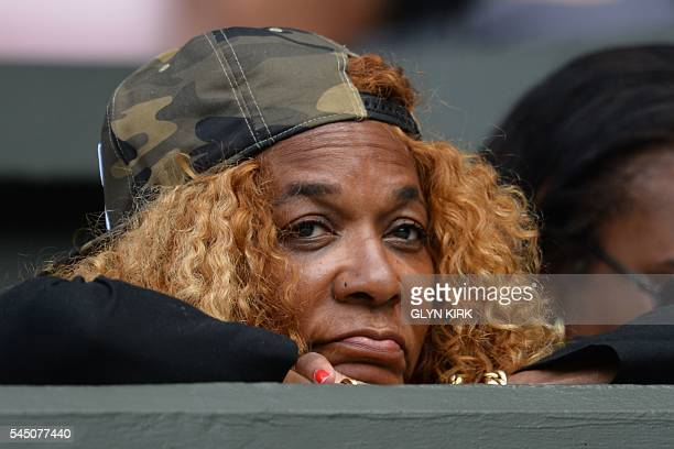 Oracene Price mother of US player Serena Williams watches Williams play against Russia's Anastasia Pavlyuchenkova during their women's singles...