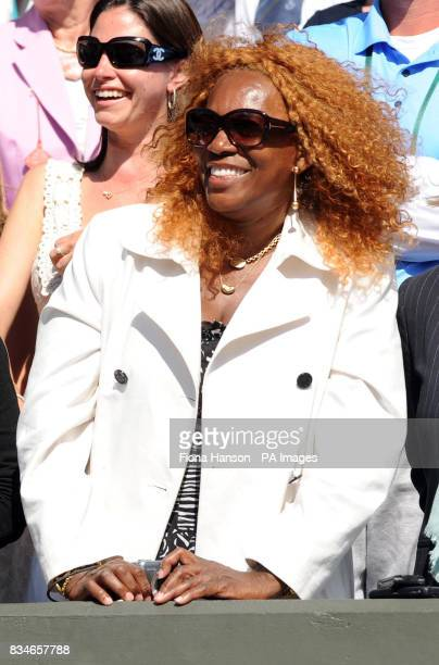 Oracene Price mother of Venus and Serena Williams watches the trophy presentation ceremony during the Wimbledon Championships 2008 at the All England...