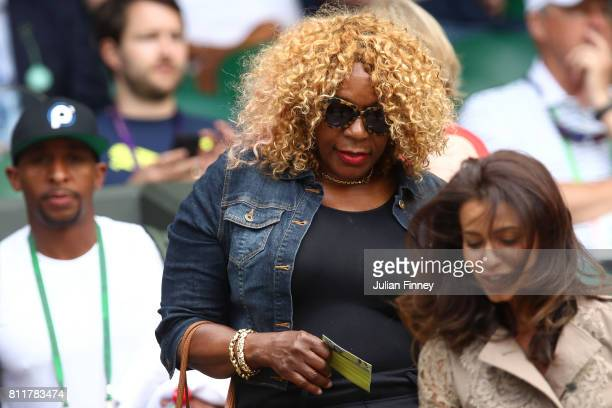 Oracene Price mother of Venus Williams of The United States looks on prior to her Ladies Singles fourth round match against Ana Konjuh of Croatia on...
