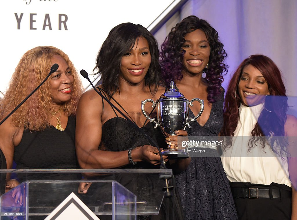 Oracene Price, Serena Williams, Venus Williams and Lyndrea Price attend Sports Illustrated Sportsperson of the Year Ceremony 2015 at Pier 60 on December 15, 2015 in New York City.