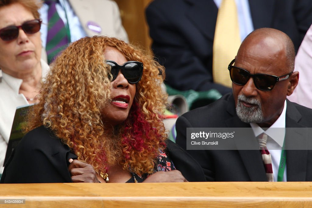 <a gi-track='captionPersonalityLinkClicked' href=/galleries/search?phrase=Oracene+Price&family=editorial&specificpeople=3103846 ng-click='$event.stopPropagation()'>Oracene Price</a> the mother of Serena Williams of The United States watches on as her daughter plays during the Ladies Singles first round match against Amra Sadikovic of Switzerland on day two of the Wimbledon Lawn Tennis Championships at the All England Lawn Tennis and Croquet Club on June 28, 2016 in London, England.