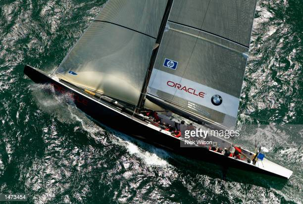 Oracle BMW Racing of the USA heads upwind during their race with Mascalzone Latino of Italy in the second days racing in the Louis Vuitton Cup...