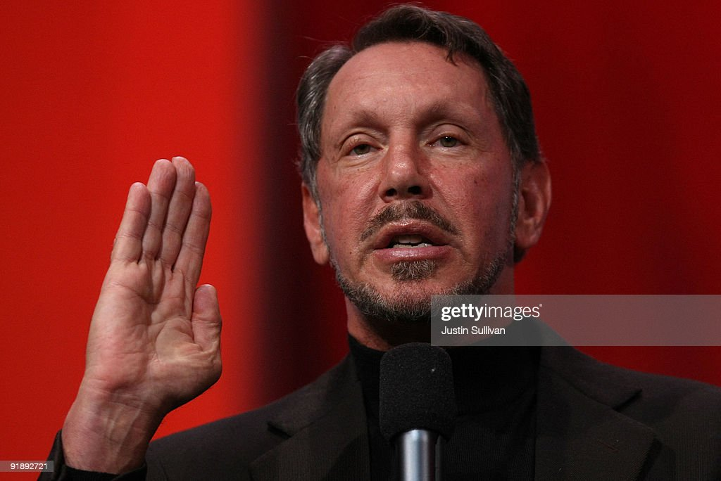 Oracle CEO <a gi-track='captionPersonalityLinkClicked' href=/galleries/search?phrase=Larry+Ellison&family=editorial&specificpeople=221302 ng-click='$event.stopPropagation()'>Larry Ellison</a> delivers a keynote address at the 2009 Oracle Open World conference October 14, 2009 in San Francisco, California. Ellison kicked off the conference, which runs through October 15.