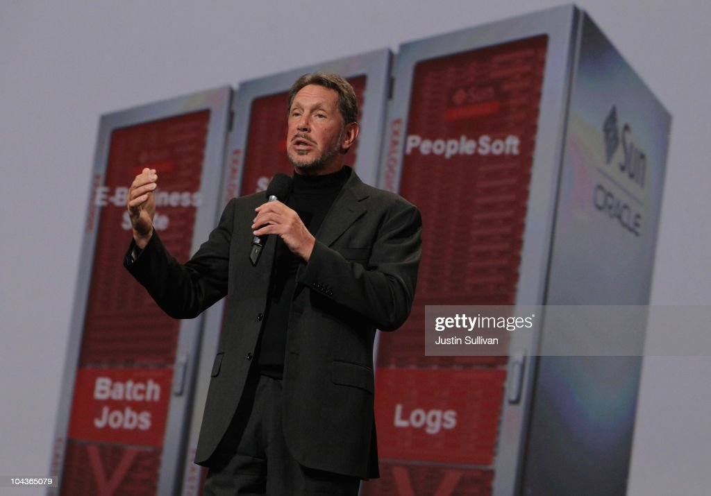 Oracle CEO <a gi-track='captionPersonalityLinkClicked' href=/galleries/search?phrase=Larry+Ellison&family=editorial&specificpeople=221302 ng-click='$event.stopPropagation()'>Larry Ellison</a> delivers a keynote address during the 2010 Oracle Open World conference on September 22, 2010 in San Francisco, California. Ellison delivered the final keynote of the week-long conference that runs through September 23.