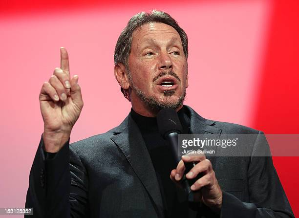 Oracle CEO Larry Ellison delivers a keynote address during the 2012 Oracle Open World conference on September 30 2012 in San Francisco California...