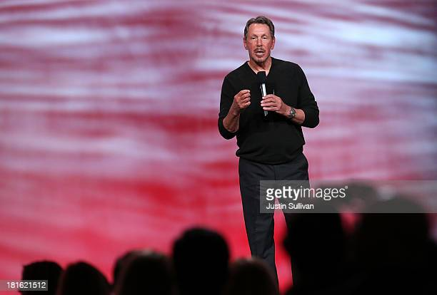 Oracle CEO Larry Ellison delivers a keynote address during the 2013 Oracle Open World conference on September 22 2013 in San Francisco California...