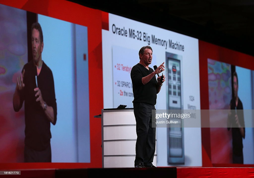 Oracle CEO Larry Ellison delivers a keynote address during the 2013 Oracle Open World conference on September 22, 2013 in San Francisco, California. Ellison kicked off the week-long Oracle Open World conference that runs through September 26.