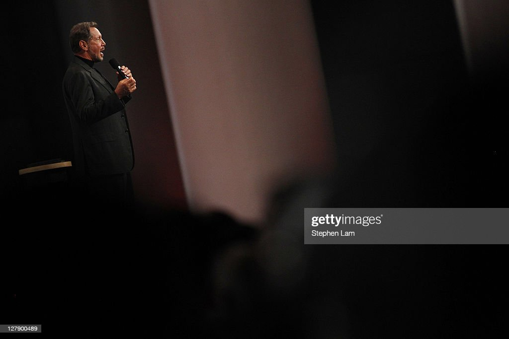 Oracle CEO Larry Ellison delivers an opening keynote address at the 2011 OpenWorld Conference on October 2 2011 at the Moscone Center in San...