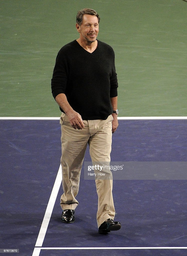 Oracle CEO Larry Ellison makes his way to center court during the BNP Paribas Open Players Party & Hit for Haiti at the Indian Wells Tennis Garden on March 12, 2010 in Indian Wells, California.