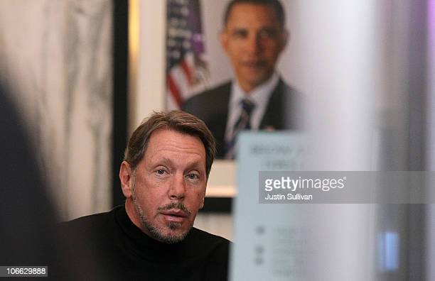 Oracle CEO Larry Ellison passes through security as he arrives at US District court on November 8 2010 in Oakland California Ellison is in court to...