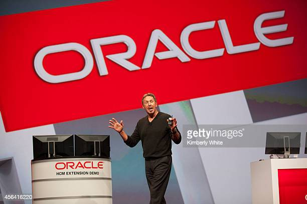 Oracle cofounder Larry Ellison delivers the keynote address during the annual Oracle OpenWorld conference on September 30 2014 in San Francisco...
