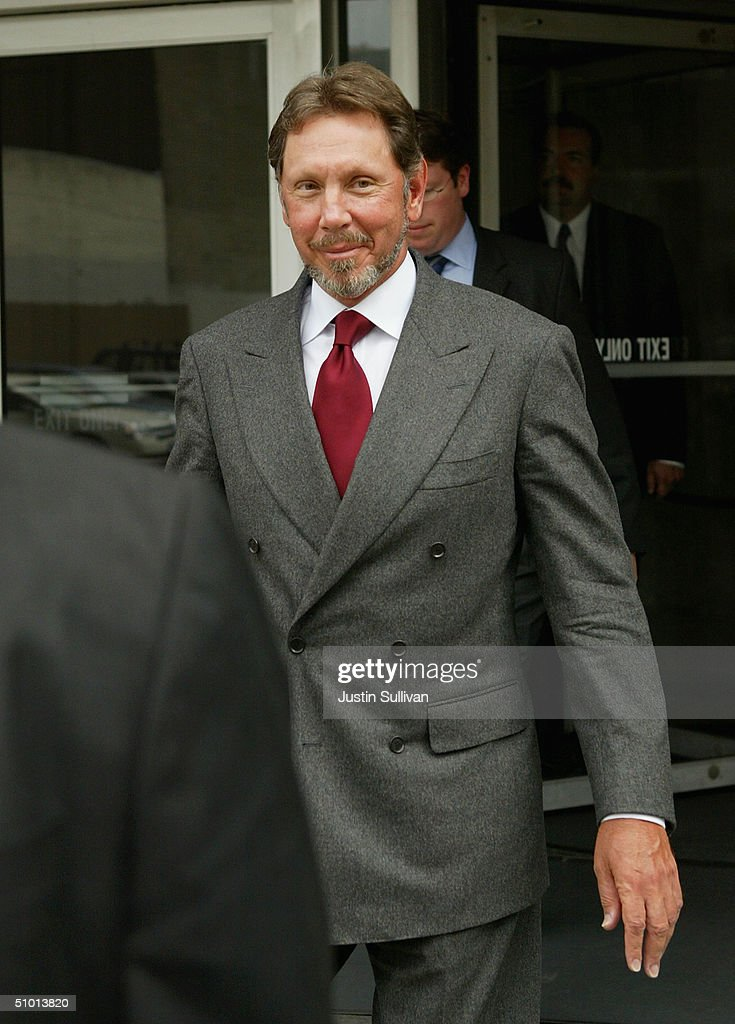 Oracle Corp CEO Larry Ellison leaves the federal courthouse June 30 2004 in San Francisco Ellison testified in the federal antitrust trial over...