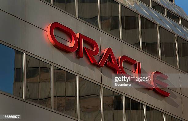 Oracle Corp signage is displayed in Minneapolis Minnesota US on Wednesday Dec 28 2011 The economy in the Minneapolis area grew moderately in 2011...