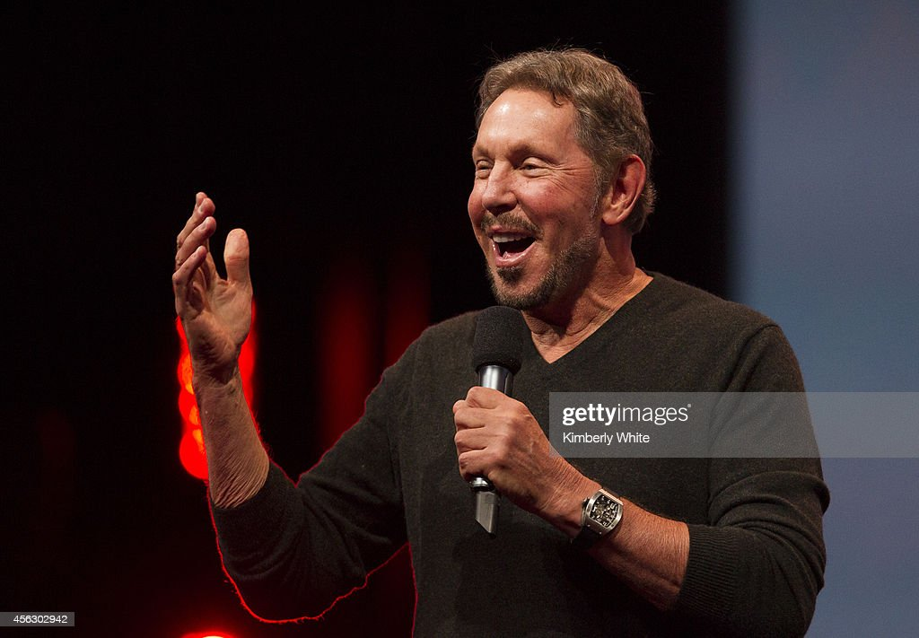 Oracle Executive Chairman of the Board and Chief Technology Officer, <a gi-track='captionPersonalityLinkClicked' href=/galleries/search?phrase=Larry+Ellison&family=editorial&specificpeople=221302 ng-click='$event.stopPropagation()'>Larry Ellison</a>, delivers a keynote address during the 2014 Oracle Open World conference on September 28, 2014 in San Francisco, California. Ellison kicked off the week-long Oracle Open World conference that runs through October 2.