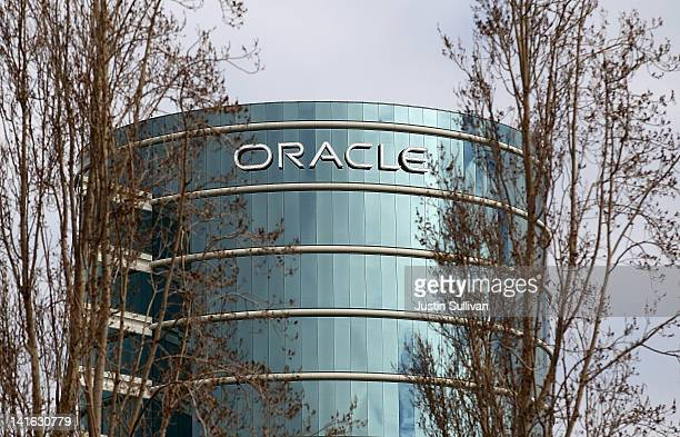 Oracle headquarters is seen through trees on March 20 2012 in Redwood Shores California Oracle will report third quarter earnings today after the...