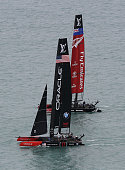 Oracle Team USA and Emirates Team New Zealand rac during Day 2 of the Louis Vuitton America's Cup World Series the first freshwater races in the...