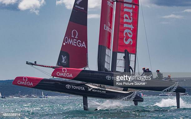 Oracle team USA in action on Day Three of the Louis Vuitton America's Cup World Series on July 25 2015 in Portsmouth England