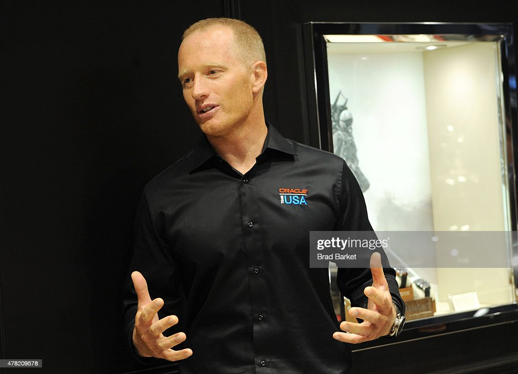 Oracle Team USA member Jimmy Spithill speaks at Bremont Watches NYC Boutique opening with unveiling of America's Cup at Bremont Boutique on June 23...
