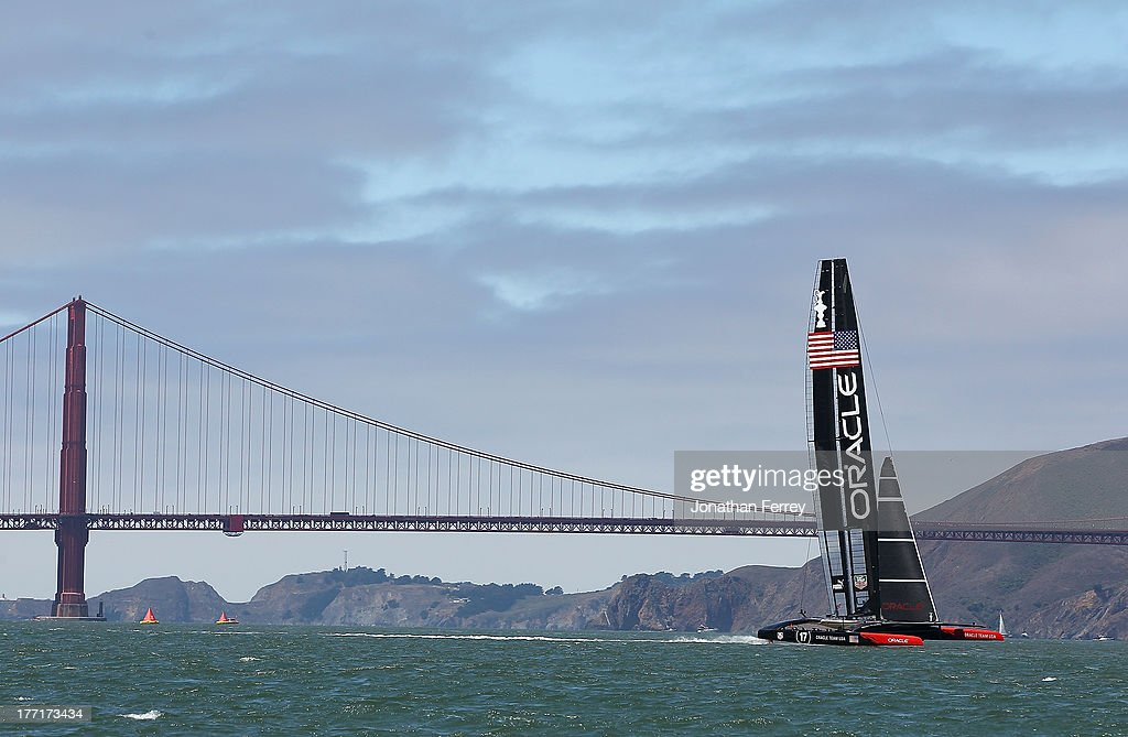 Oracle Team USA practice before race four of the Louis Vuitton Cup finals on August 21, 2013 in San Francisco, California.