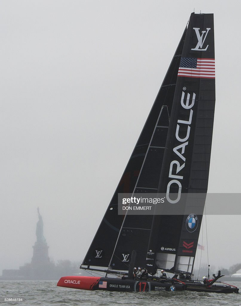 Oracle Team USA sails during practice for the Louis Vuitton America's Cup World Series New York May 6, 2016 in New York. / AFP / DON