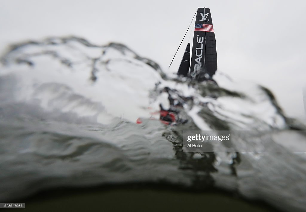 Oracle Team USA sails during their practice race at the Louis Vuitton America's Cup World Series Racing on May 6, 2016 in New York City.