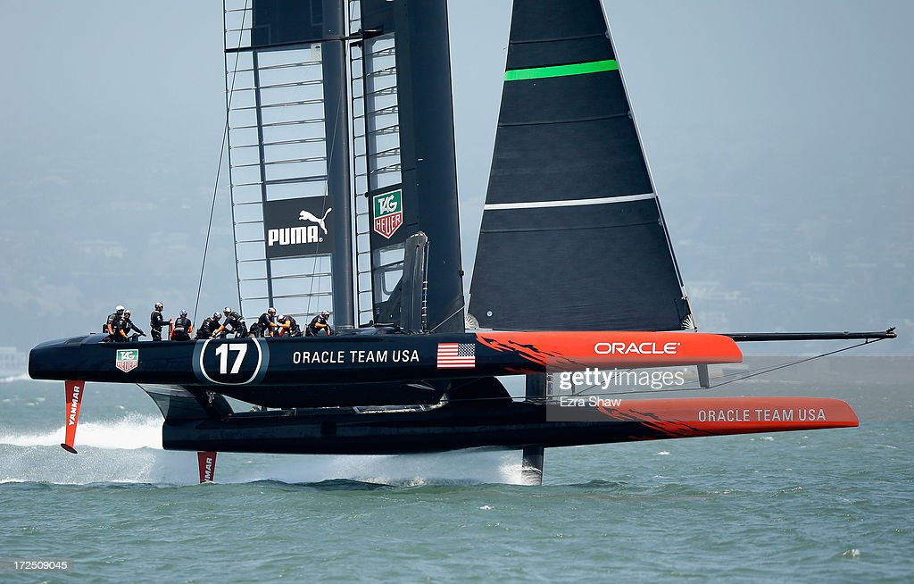 Oracle Team USA sails in the San Francisco Bay during a training session on July 2, 2013 in San Francisco, California. Opening ceremony for the America's Cup is July 4, 2013. The finals begin on September 7, 2013 in San Francisco.
