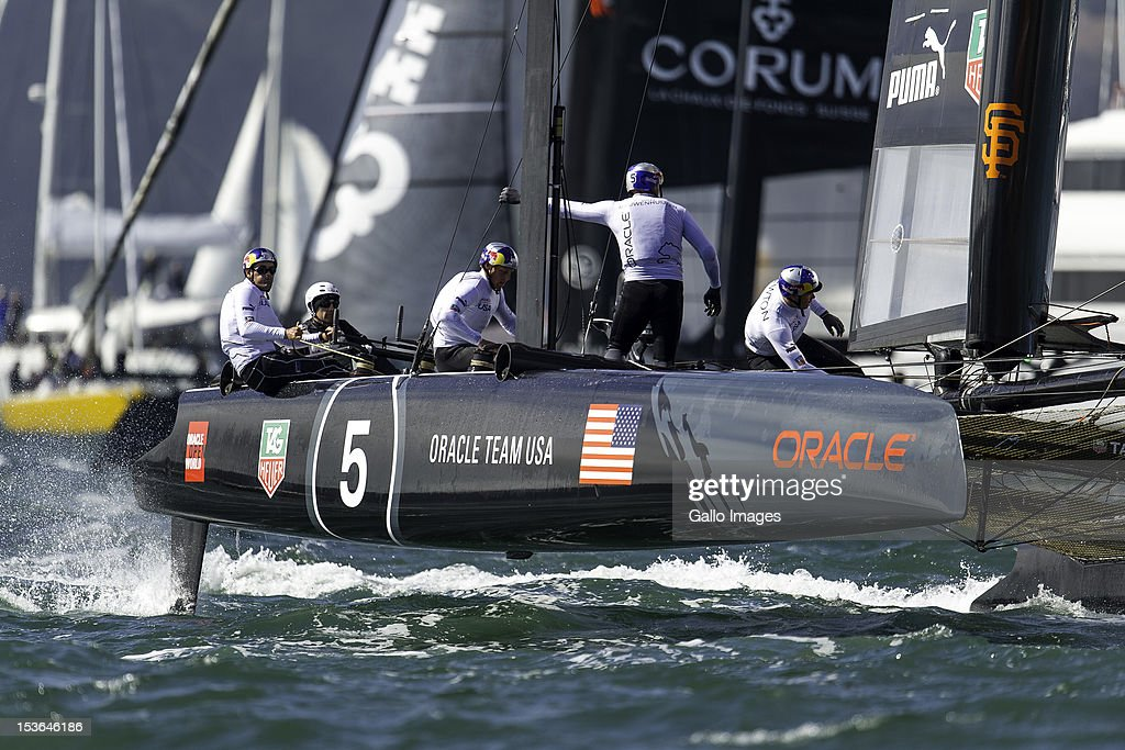 Oracle Team USA (USA) Skipper and Helmsman Russell Coutts round the top mark during Day 5 of the America's Cup World Series on October 7, 2012, in San Francisco, CA.