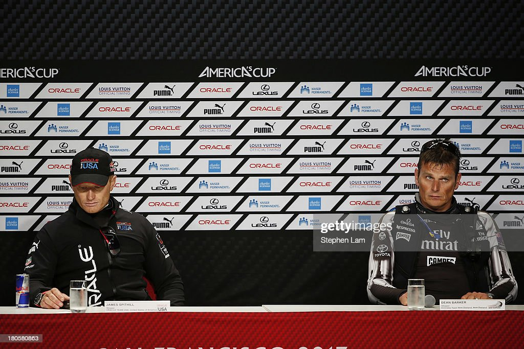 Oracle Team USA skipper James Spithill (L) and Emirates Team New Zealand skipper Dean Barker (R) speak to members of the media after race eight America's Cup finals on September 14, 2013 in San Francisco, California. Team Oracle won the race after Team New Zealand nearly capsized.