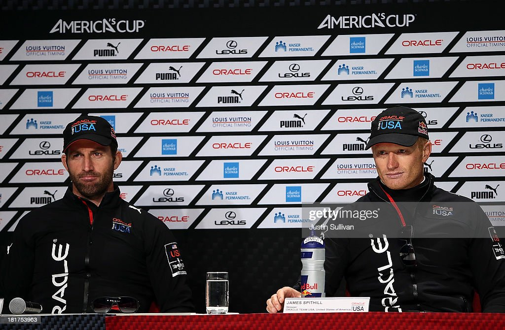 Oracle Team USA skipper <a gi-track='captionPersonalityLinkClicked' href=/galleries/search?phrase=James+Spithill&family=editorial&specificpeople=2181352 ng-click='$event.stopPropagation()'>James Spithill</a> (R) and tactician Sir <a gi-track='captionPersonalityLinkClicked' href=/galleries/search?phrase=Ben+Ainslie&family=editorial&specificpeople=208865 ng-click='$event.stopPropagation()'>Ben Ainslie</a> (L) look on during a news conference following races 17 and 18 of the America's Cup finals against Oracle Team USA on September 24, 2013 in San Francisco, California. Team USA swept the two races today against Team New Zealand to tie the series at 8, settiing up a winner-take-all race tomorrow.