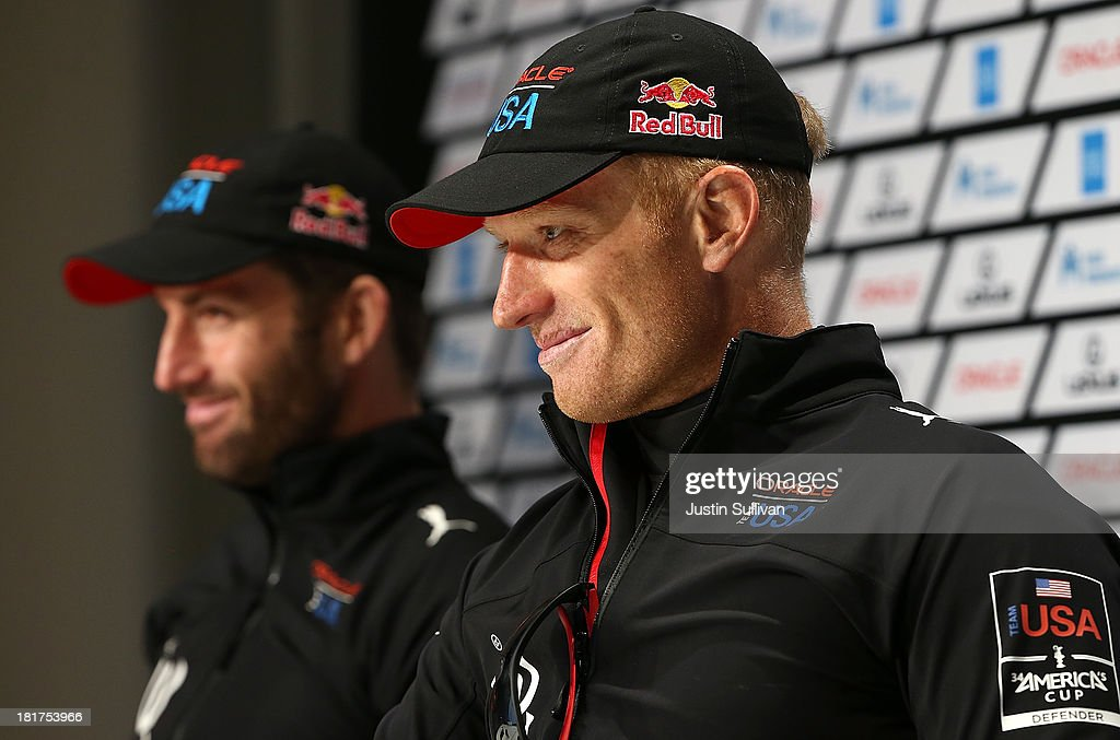 Oracle Team USA skipper James Spithill and tactician Sir Ben Ainslie look on during a news conference following races 17 and 18 of the America's Cup...