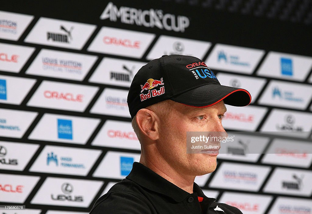 Oracle Team USA skipper James Spithill looks on during a news conference on September 5 2013 in San Francisco California Emirates Team New Zealand...