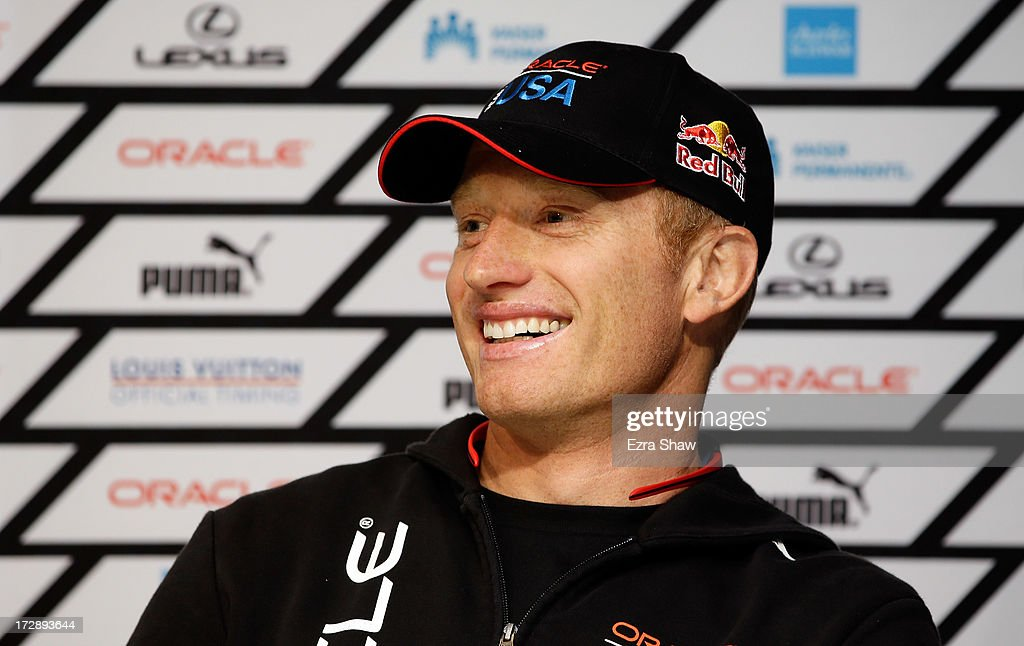 Oracle Team USA skipper James Spithill speaks at a press conference on July 5 2013 in San Francisco California The Louis Vuitton Cup is scheduled to...