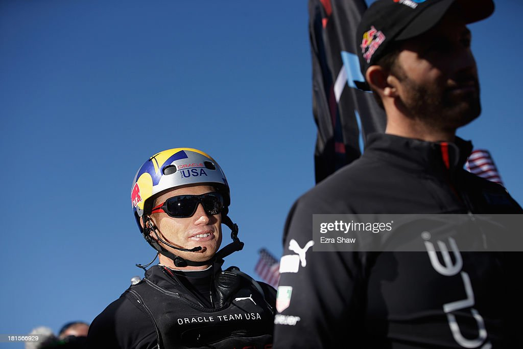 Oracle Team USA skipper James Spithill walks onto the stage for the dockout show before going out to race against Emirates Team New Zealand in race...
