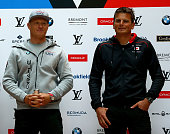 Oracle Team USA skipper Jimmy Spithill and Softbank Team Japan skipper Dean Barker walk in for the Louis Vuitton America's Cup World Series Racing...