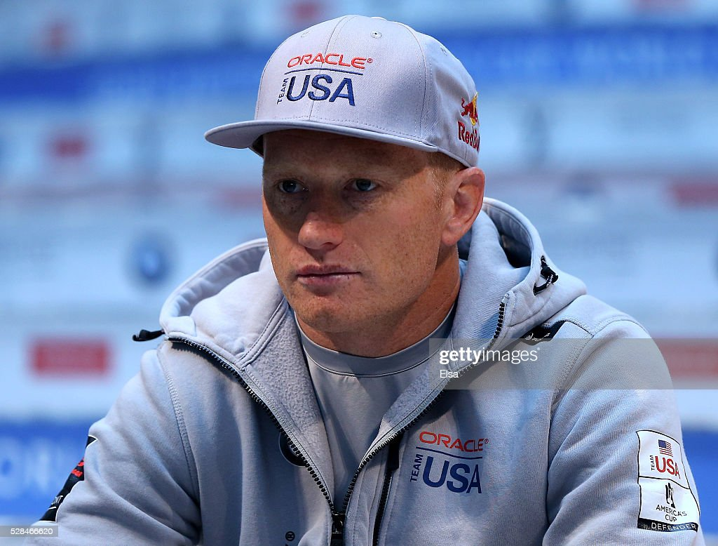 Oracle Team USA skipper Jimmy Spithill answers questions during the Louis Vuitton America's Cup World Series Racing Skipper press conference at the...
