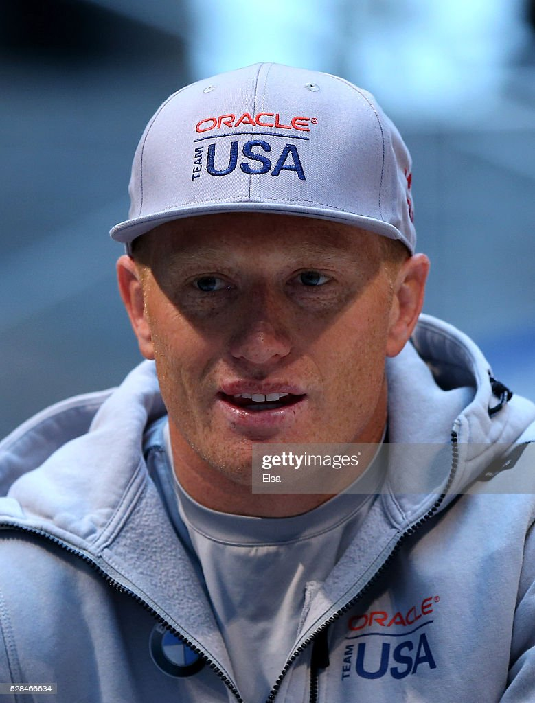 Oracle Team USA skipper Jimmy Spithill answers questions during the Louis Vuitton America's Cup World Series Racing Skipper press conference at the Brookfield Place on May 05, 2016 in New York City.