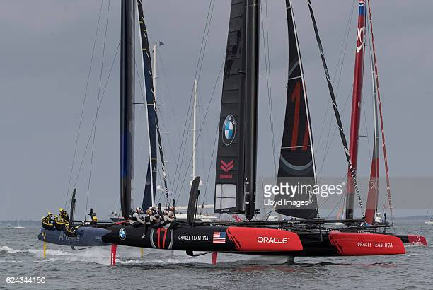 Oracle Team USA skipperd by James Spithill in action during The Louis Vuitton Americas Cup World Series Japan on November 19 2016 in Fukuoka Japan