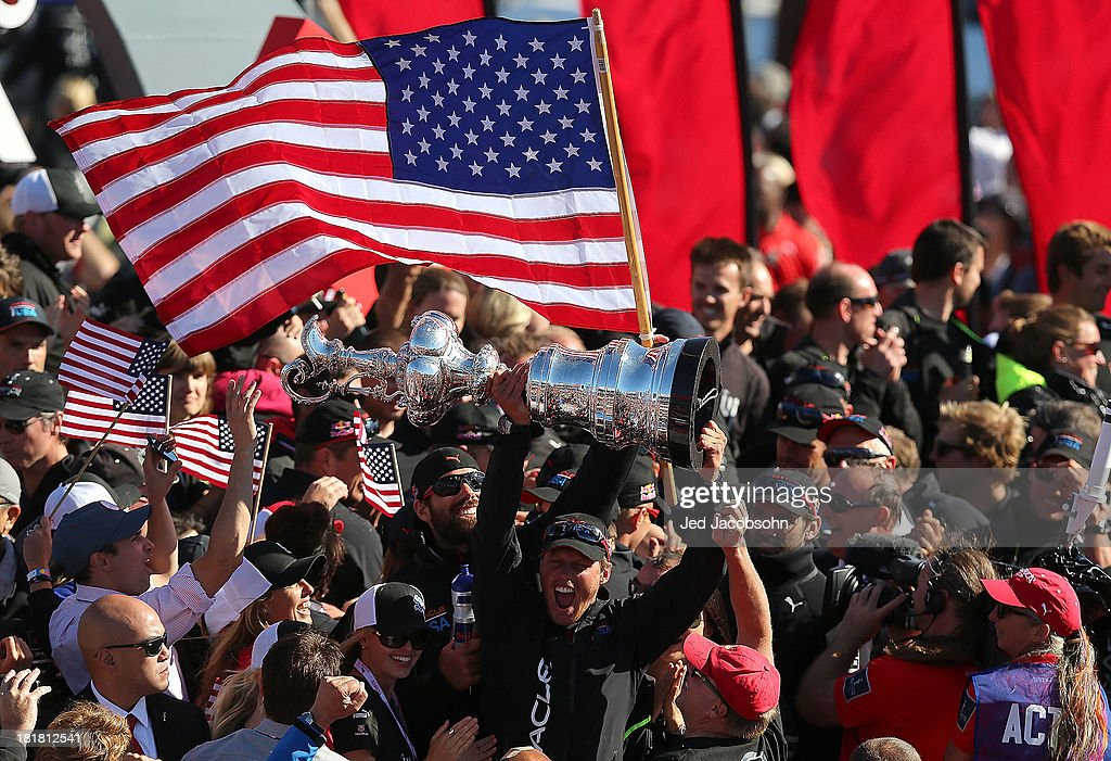 Oracle Team USA skippered by James Spithill celebrates after defeating Emirates Team New Zealand skippered by Dean Barker during the final race of...