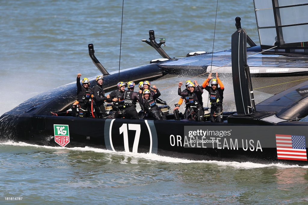 Oracle Team USA skippered by James Spithill celebrates after defeating Emirates Team New Zealand skippered by Dean Barker during the final race of the America's Cup Finals on September 25, 2013 in San Francisco, California.